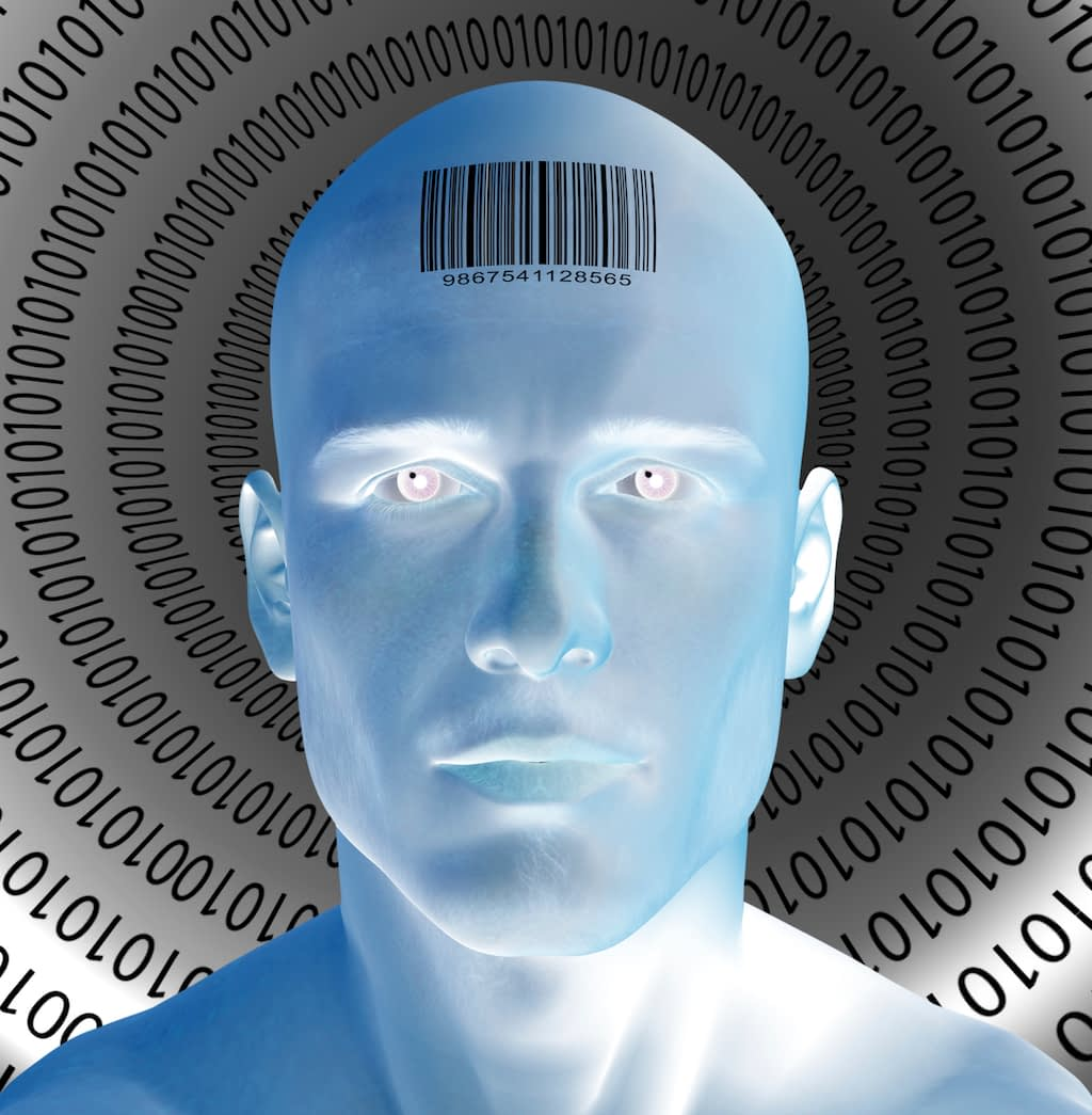 Blue man with barcode on forehead